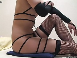 Japanese Cute Nubile in Fishnet Expand Her Legs